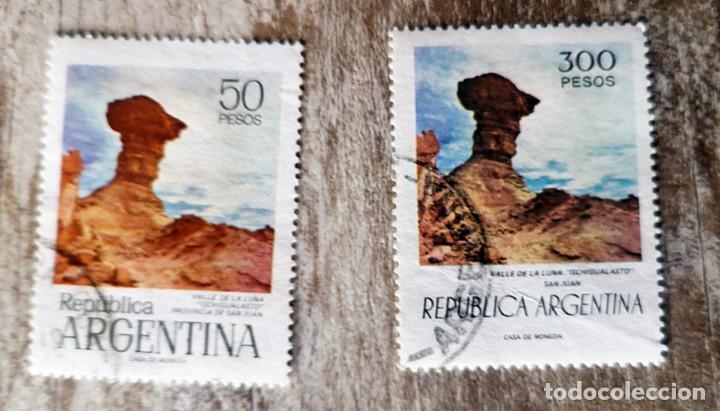 2 SELLOS USADOS ARGENTINA. VALLE DE LA LUNA 50 Y 300 PESOS (Sellos - Extranjero - América - Argentina)