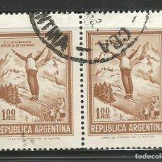Sellos: ARGENTINA - 2 SELLOS CON SALTO DE ESQUI - USADOS. Lote 278633528
