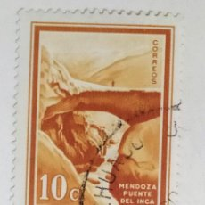 Sellos: SELLO DE ARGENTINA 10 C - 1972 - PUENTE DEL INCA ROSARIO - USADO SIN SEÑAL DE FIJASELLOS. Lote 293207393