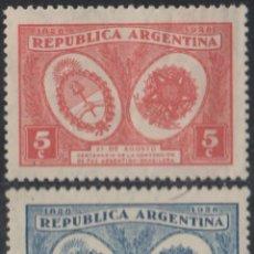 Sellos: ARGENTINA 1928 IVERT 321/2 *** CENTENARIO DE LA PAZ ARGENTINO-BRASILEÑA. Lote 293779038