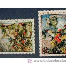 Sellos: TCHAD 1970 PINTURA DE IBA N'DIAYE - YVERT AV. 73/74. Lote 23011614