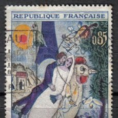 Sellos: FRANCIA 1963 - 0.85 F YVERT 1398 - PINTURA : LES MARIES DE LA TOUR EIFFEL, DE CHAGALL - USADO. Lote 8107658