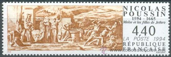FRANCIA IVERT Nº 2896, 4º CENTENARIO DEL PINTOR NICOLAS POUSSIN, MOISES, SELLO NUEVO *** (Sellos - Temáticas - Arte)