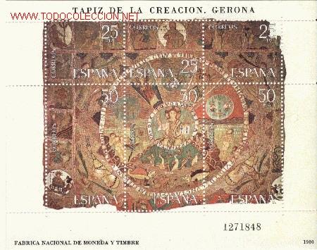 SELLO TAPIZ DE LA CREACIÓN (GIRONA) 1980 (Sellos - Temáticas - Arte)