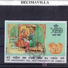 Sellos: PINTURA, VIETNAM, DESCUBRIMIENTO, 1992, L088, HOJA-BLOQUE USADA. Lote 228568555