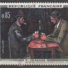 Sellos: FRANCIA IVERT Nº 1321, PINTURA: JUGADORES DE CARTAS DE PAUL CEZANNE, NUEVO. Lote 235652620
