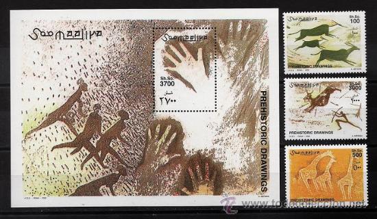 PINTURAS RUPESTRES - PREHISTORIA - SOMALIA - 3 SELLOS + 1 HB - SERIE COMPLETA - NUEVA - AÑO 2002 (Sellos - Temáticas - Arte)
