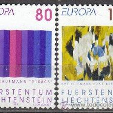 Sellos: LIECHTENSTEIN IVERT 995/6, ARTE CONTEMPORANEO (KAUFMANN Y KLIEMAND) NUEVO (SERIE COMPLETA). Lote 30322330