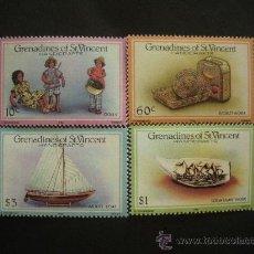 Sellos: GRANADINAS DE SAN VICENTE 1986 IVERT 451/4 *** ARTESANIA LOCAL. Lote 30821548