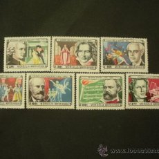 Sellos: MONGOLIA 1981 IVERT 1151/7 *** COMPOSITORES ILUSTRES - MUSICA - PERSONAJES. Lote 32440977