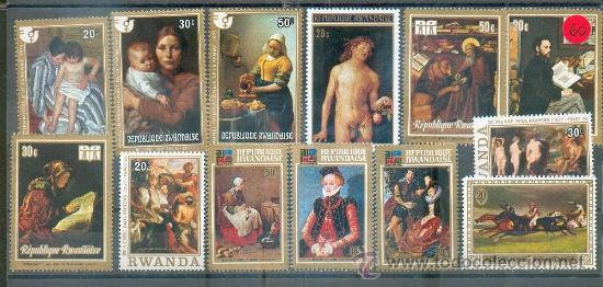 CUADROS DE VERMEER, CRANACH, RUBENS, REMBRADT, CASSATTI, MELCHERS, DURERO, COLANTONIO, ,MANET Y CHAR (Sellos - Temáticas - Arte)