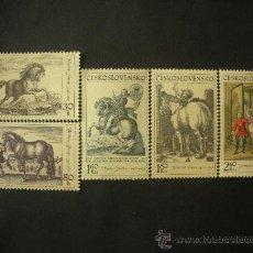 Sellos: CHECOSLOVAQUIA 1969 IVERT 1717/21 *** ARTE - EL CABALLO EN LA PINTURA. Lote 33470378