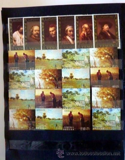 Sellos: Lote 250 sellos nuevos. Países exóticos (Bhutan, Yemen,etc.). Arte / pintura / Napoleón. 1968 - 1970 - Foto 10 - 33850271