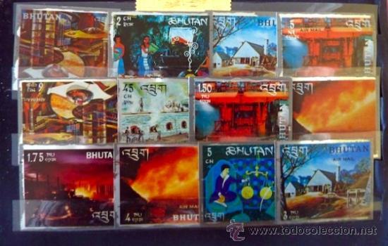 Sellos: Lote 250 sellos nuevos. Países exóticos (Bhutan, Yemen,etc.). Arte / pintura / Napoleón. 1968 - 1970 - Foto 14 - 33850271