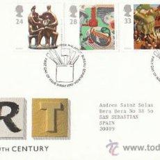 Sellos: INGLATERRA IVERT 1664/7 EUROPA, ARTE CONTEMPORANEO, PRIMER DIA DE 11-5-1993. Lote 35503635