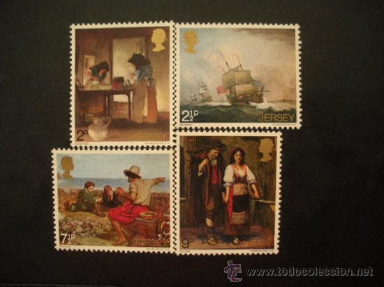 JERSEY 1971 IVERT 51/4 *** PINTURA (I) - CUADROS DE BLAMPIED, MONAMY, MILLAIS Y OULESS (Sellos - Temáticas - Arte)