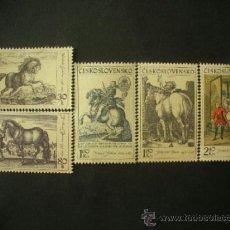 Sellos: CHECOSLOVAQUIA 1969 IVERT 1717/21 *** EL CABALLO EN LA PINTURA - ARTE. Lote 38094825