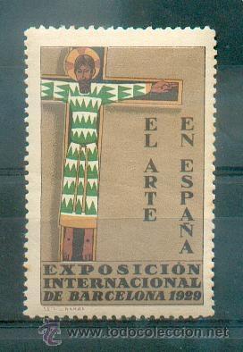 EXPOSICIÓN FILATÉLICA DE BARCELONA 1929- EL ARTE EN ESPAÑA.- PRECIOSA Y GRAN VIÑETA (Sellos - Temáticas - Arte)