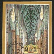 Sellos: MADAGASCAR 1994 HOJA BLOQUE ABADIA DE WESTMINSTER LONDRES- GOTICA. Lote 44927383