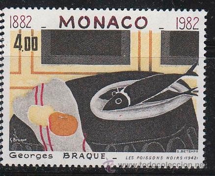 MONACO 1348, GEORGES BRAQUE: LOS PECES NEGROS, NUEVOS*** (Sellos - Temáticas - Arte)