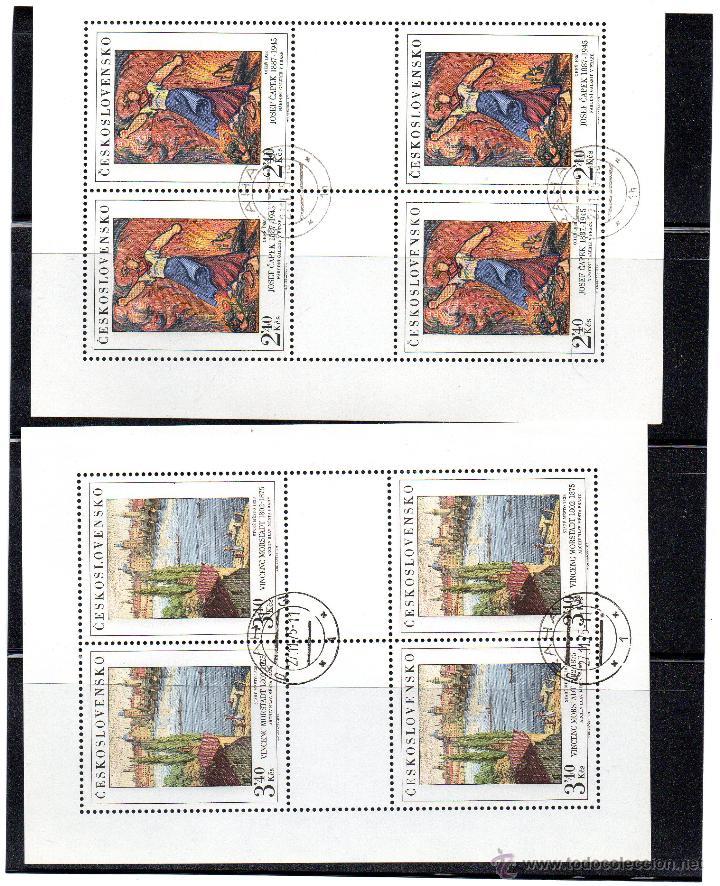 CHECOSLOVAQUIA - AÑO 1975 Nº YVERT 2138-42 EN HOJA BLOQUE DE 4 VALORES - USADOS ARTE GALERIAS NACIO (Sellos - Temáticas - Arte)