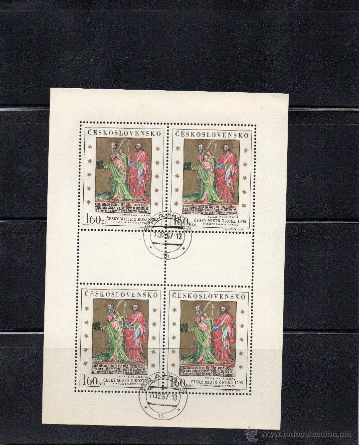 CHECOSLOVAQUIA - AÑO 1967 Nº YVERT 1605 EN HOJA BLOQUE DE 4 VALORES - USADOS (Sellos - Temáticas - Arte)