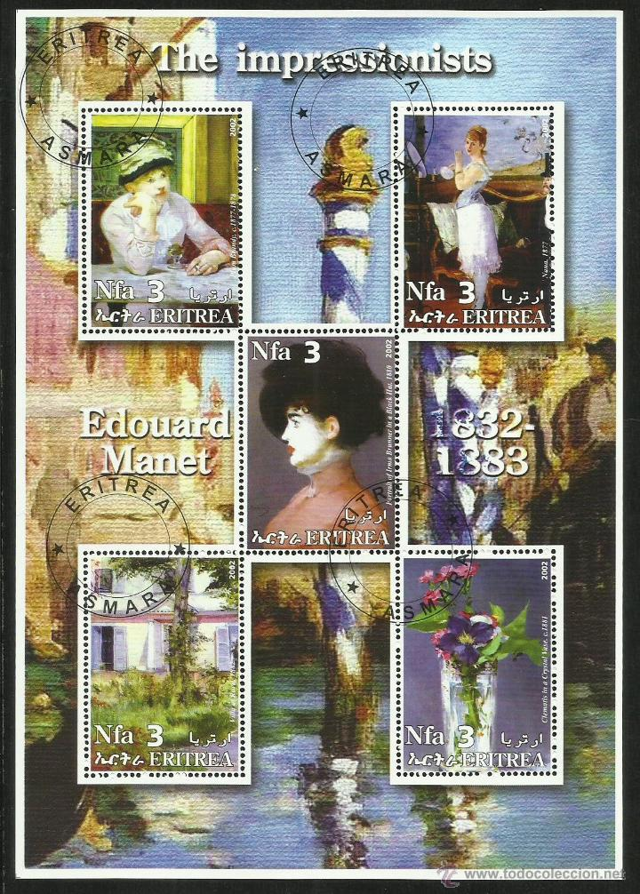 ERITREA 2002 HOJA BLOQUE PINTURA- ARTE PINTOR IMPRESIONISTA EDOUARD MANET- IMPRESIONISMO (Sellos - Temáticas - Arte)