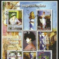 Sellos: ERITREA 2002 HOJA BLOQUE PINTURA- ARTE PINTOR IMPRESIONISTA EDOUARD MANET- IMPRESIONISMO. Lote 47066950