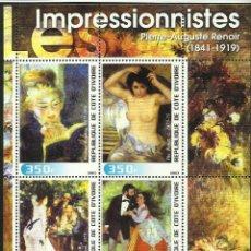 Sellos: COSTA DE MARFIL 2003 HOJA BLOQUE PINTURA- ARTE PINTOR IMPRESIONISTA AUGUSTE RENOIR- IMPRESIONISMO . Lote 47078965