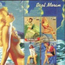 Sellos: GAMBIA 2003 HOJA BLOQUE DE SELLOS TEMÁTICA ARTE FOTOGRAFIA - PIN UP - EARL MORAN. Lote 47659764