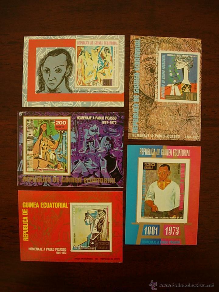 5 HOJITAS HOMENAJE A PABLO PICASSO 1881 - 1973 CORREO AEREO REPUBLICA DE GUINEA ECUATORIAL (Sellos - Temáticas - Arte)
