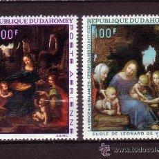 Sellos: DAHOMEY 1969 AEREO IVERT 99/100 *** PINTURA - CUADROS DE CESARE DA SESTO Y LEONARDO DA VINCI. Lote 54766679