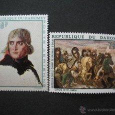 Sellos: DAHOMEY 1969 AEREO IVERT 101 Y 103 *** 2º CENTENARIO DEL NACIMIENTO DE NAPOLEON 1º - PINTURA. Lote 54829155