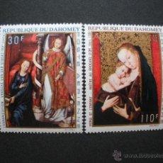 Selos: DAHOMEY 1969 AEREO IVERT 112 Y 114 *** PINTURA RELIGIOSA - LA ANUNCIACIÓN Y LA VIRGEN Y EL NIÑO. Lote 54829201