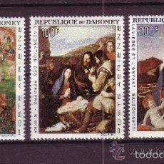 Sellos: DAHOMEY 1966 AEREO IVERT 50/2 *** TAPICERIA Y PINTURA - BEAUNE - RIVERA Y BALDOVINETTI. Lote 55094761