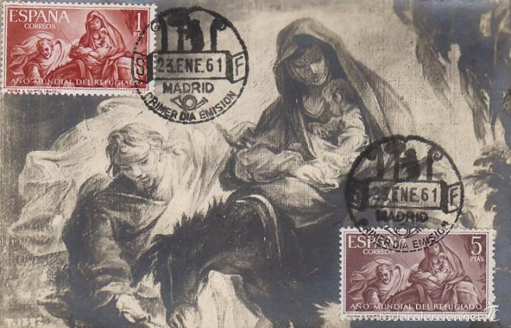 EDIFIL 1326, BAYEU: LA HUIDA A EGIPTO, TARJETA MAXIMA DE PRIMER DIA DE 23-1-1961 (Sellos - Temáticas - Arte)