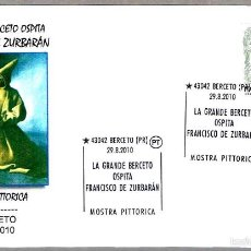 Sellos: EXPOSICION DE PINTURA DE FRANCISCO DE ZURBARAN. BERCETO, ITALIA, 2010. Lote 58106294