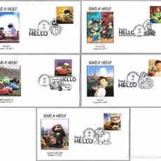Sellos: CINE: PIXAR-DISNEY: CARS, TOY STORY, UP, WALL-E Y RATATOUILLE. SET 5 FDC. 2011 . Lote 58343450