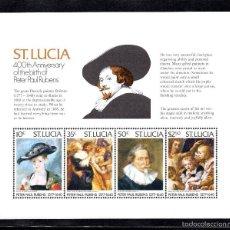 Sellos: SANTA LUCIA HB 12** - AÑO 1977 - PINTURA - 400º ANIVERSARIO DEL NACIMIENTO DE RUBENS. Lote 177433478