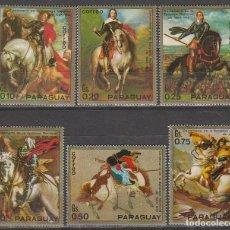 Sellos: PARAGUAY 2178/83, PINTURAS ECUESTRES DE PERSONAJES HISTORICOS, NUEVO ***. Lote 67328613
