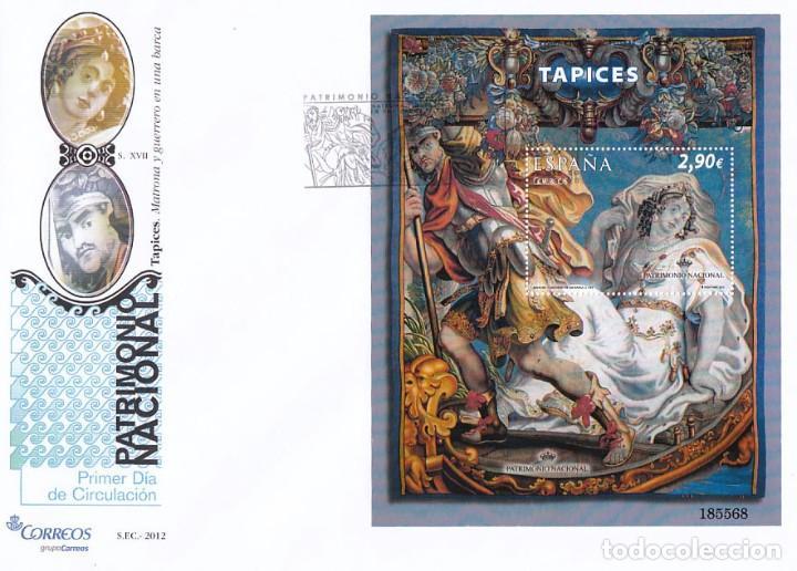 EDIFIL 4706, PATRIMONIO NACIONAL: TAPICES, PRIMER DIA DE 8-3-2012 EN HOJA BLOQUE, SOBRE DEL SFC (Sellos - Temáticas - Arte)