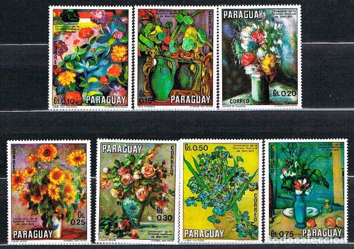 PARAGUAY 2119/25, FLORES, CUADROS DE RENOIR, MONET, VAN GOGH, CEZANNE..., NUEVO *** (Sellos - Temáticas - Arte)