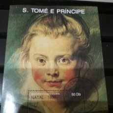 Sellos: HB DE S. TOME E PRINCIPE MATASELLADA. 1990. NAVIDAD. RUBENS. HIJA. SARA. PINTURAS. RETARTO.. Lote 104325616