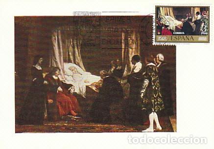EDIFIL 2205, EDUARDO ROSALES: TESTAMENTO DE ISABEL LA CATOLICA, TARJETA MAXIMA 29-9-1974 (Sellos - Temáticas - Arte)