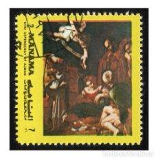 Timbres: MANAMA 1972. MICHEL AJ-MN I960BA. PINTURA. ADORACIÓN DE LOS MAGOS (CARAVAGGIO) USADO. Lote 112259859