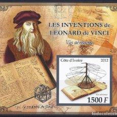 Sellos: COTE DE IVOIRE 2012 HB *** LEONARDO DA VINCI - TORNILLO AEREO - INVENTOR. Lote 113590655