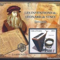 Sellos: COTE DE IVOIRE 2012 HB *** LEONARDO DA VINCI - PIANO-VIOLA - INVENTOR. Lote 113590747