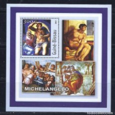 Timbres: GUINEA BISSAU 2001 HB *** ARTE - PINTURA - MIGUEL ANGEL. Lote 113612855