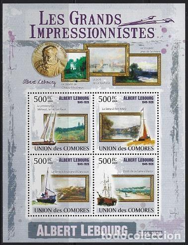 COMORES 2009 IVERT 1759/62 *** ARTE - PINTURA - CUADROS DE ALBERT LEBOURG (Sellos - Temáticas - Arte)
