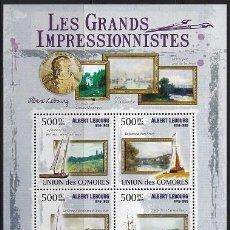 Sellos: COMORES 2009 IVERT 1759/62 *** ARTE - PINTURA - CUADROS DE ALBERT LEBOURG. Lote 113683807